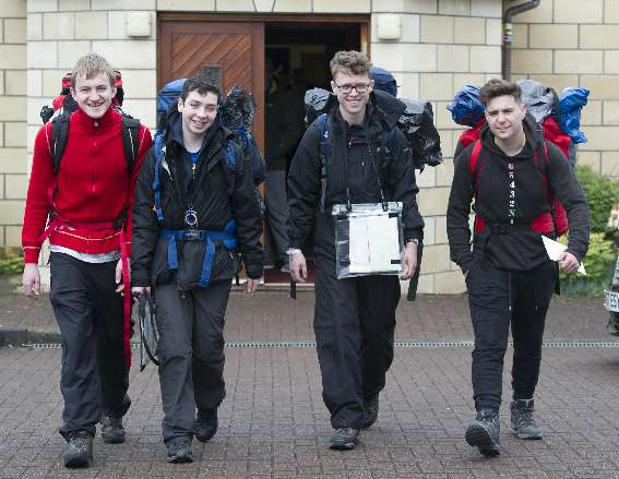 Team setting off on Hike